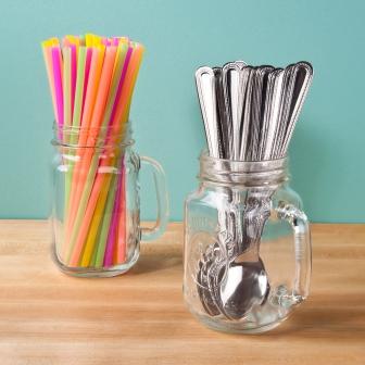 mason jar straw and spoon holders