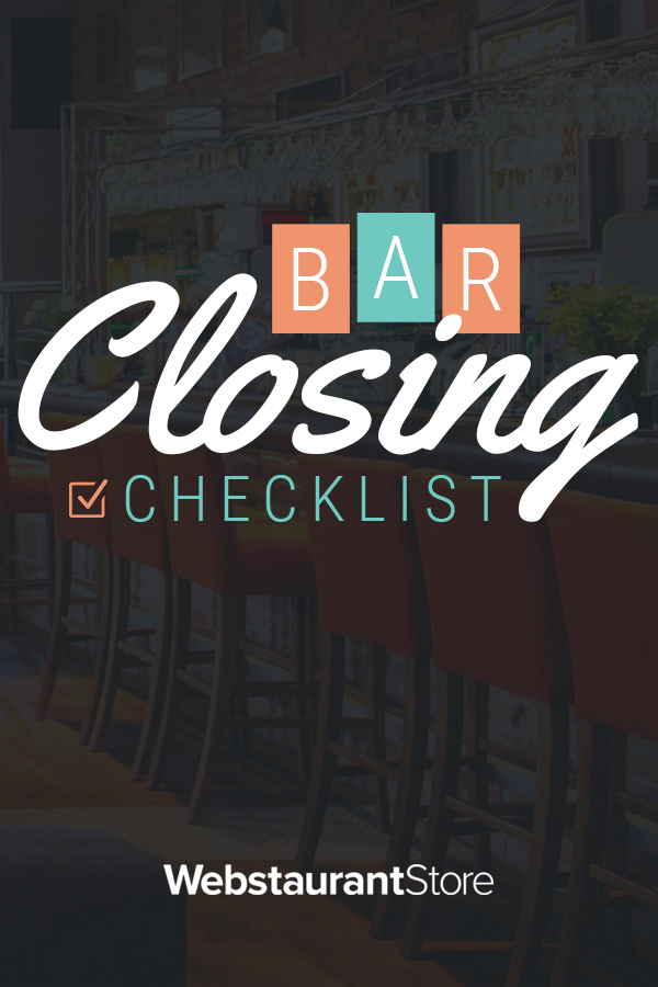 Bar Closing Checklist | Bar Cleaning Checklist Template