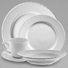 10 Strawberry Street White Wicker Porcelain Dinnerware