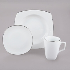 10 Strawberry Street Lotus Silver Line Porcelain Dinnerware