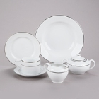 10 Strawberry Street Silver Double Line Porcelain Dinnerware