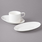 Bon Chef Slanted Oval White Porcelain Dinnerware