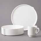 Bon Chef Stacked Lines White Porcelain Dinnerware