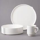 Bon Chef Stacked Lines White Porcelain Dinnerware
