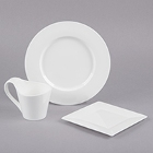 Bon Chef Wide Rim White Bone China Dinnerware