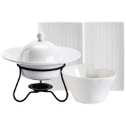 CAC Sushi Signature Pattern Bone White Porcelain Dinnerware