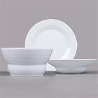 GET Minski White Textured Rim Melamine Dinnerware