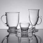Glass Coffee Mugs, Cappuccino Cups, and Saucers
