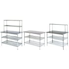 Stainless Steel Work Tables with Chrome Wire Shelving