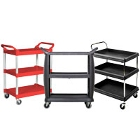 Three Shelf Plastic Bussing Carts and Transport Carts