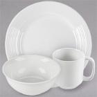 Tuxton Pacifica Embossed White China Dinnerware