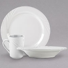 Tuxton Sonoma Embossed Rim Bright White China Dinnerware