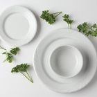 Tuxton Sonoma Embossed Bright White China Dinnerware