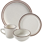 World Tableware Desert Sand Brown Speckle Ivory (American White) Stoneware Dinnerware