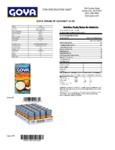 Goya 15 oz. Cream of Coconut Nutrition Information