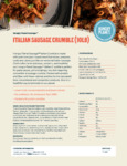 Hungry Planet Sausage 10 lb. Plant-Based Vegan Italian Sausage Crumbles Nutrition Information