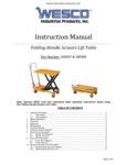 Wesco Folding Handle Scissor Lift Table