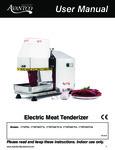 Avantco Equipment User Manual Electric Meat Tenderizer