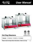 Avantco Hot Dog Steamers Manual