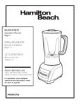 Hamilton Beach 50218 Blender Manual