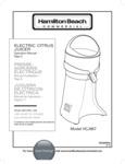 Hamilton Beach HCJ967 Manual