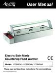 Manual for Avantco Electric Bain Marie Countertop Food Warmer