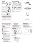 Manual for Lavex Janitorial 157LAVHD28 Hand Dryers