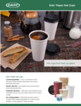 Solo Paper Hot Cups Specsheet