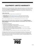 Backyard Pro 30 Day Warranty