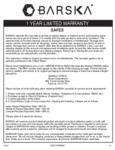 Depository Safes Warranty_Barska_2020