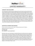 Halifax Hoods Warranty