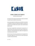 Kason General Warranty