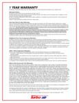 TurboAir 1-Year Warranty