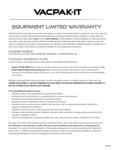 VacPak-It Warranty Replacement 1 Year