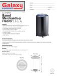 Barrel Merchandiser Freezer Spec Sheet