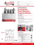 Avantco Countertop Food Warmer/Topping Station Spec Sheet