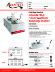 Avantco 177WK12007PL Countertop Food Warmer/Topping Station