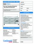 Continental Refrigerator CPA68-D specsheet