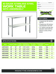 Regency 16-Gauge Stainless Steel Work Table with Undershelf Spec Sheet