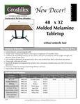 Grosfillex 38x32 molded melamine tabletops