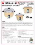 Rice Cooker Spec Sheet