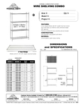 Advance Tabco Shelving Combos Spec Sheet