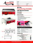 Avantco 177AG36MG Countertop Griddle Specsheet