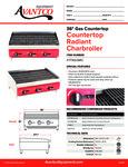 Avantco 177AG36RC Countertop Radiant Charbroiler Specsheet