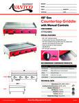 Avantco 177AG48MG Countertop Griddle Specsheet