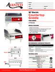 Avantco 177EG16N Countertop Griddle Specsheet