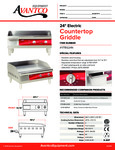 Avantco 177EG24N Countertop Griddle Specsheet