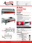 Avantco 177EG36N Countertop Griddle Specsheet