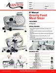 Avantco 177SL309 Gravity Feed Meat Slicer Specsheet