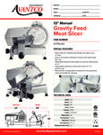 Avantco 177SL312 Gravity Feed Meat Slicer Specsheet
